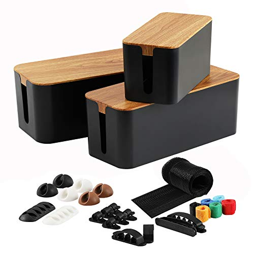 3 Pack Cable Management Box with 16 Cable ClipsampSleeve SetLargeampMediumampSmall Wooden Style Cable Organizer Box to Hide WiresampPower Strips | Cord Organizer Box | Cable Organizer for HomeampOffice Black