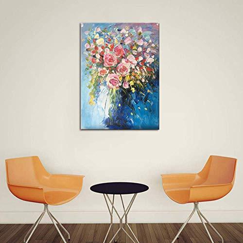 Handgemalte Blumenstrauß Abstrakter Acrylmalerei Ölgemälde Stretch und Gerahmt Schön Leinwand Dekor Gemälde Schlafzimmer Wand Kunst Bild,Noframe,60x80cm