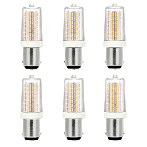 Noobibaba Bombilla LED B15D, 4 W, luz blanca cálida, LED, 3000 K, 230 V CA, 40 W, repuesto para máquina de coser, candelabros, colgantes, armario, corredor, 6 unidades