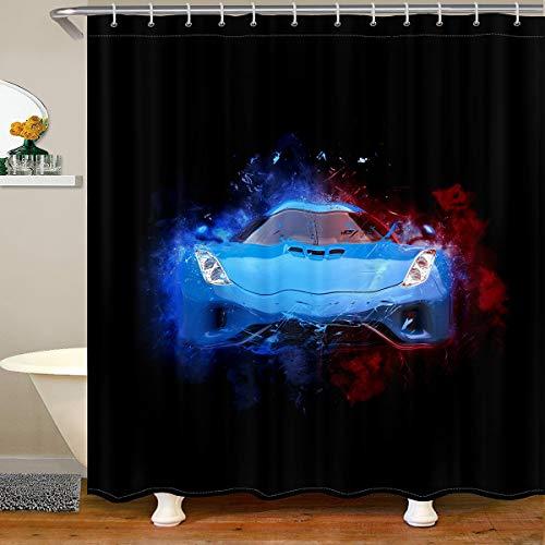 Feelyou Race Car Shower Curtain Men Speed Sports Car Bath Curtain with 12 Hooks Extreme Sports Theme Automobile Bathroom Shower Curtain Set for Stalls Bathtubs 72Wx84L