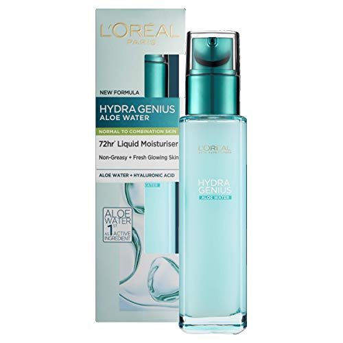 L'Oreal Paris Hydra Genius Hyaluronic Acid + Aloe Liquid Hydrating Moisturiser for Normal to Combination Skin, Rehydrating and Reinvigorating 70 ml