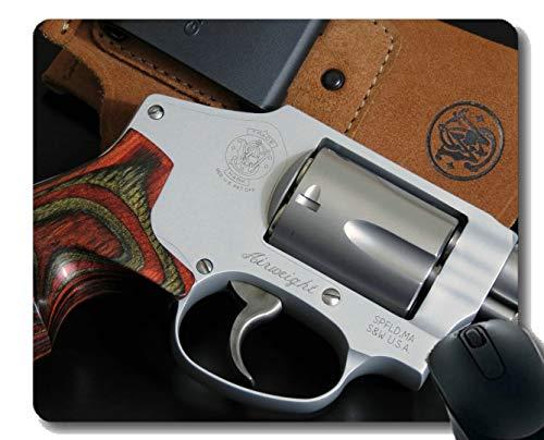 Anti-Rutsch-Mauspad-Matte, Revolver-Pistole aus Holz, spezielles Auto, rotes Mousepad