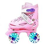 ZCRFY Patines para niños y niñas, dos líneas, doble fila, 4 ruedas, ajustables en línea, zapatos de patinaje para niños, principiantes, 2 a 12 años, rosa, XS