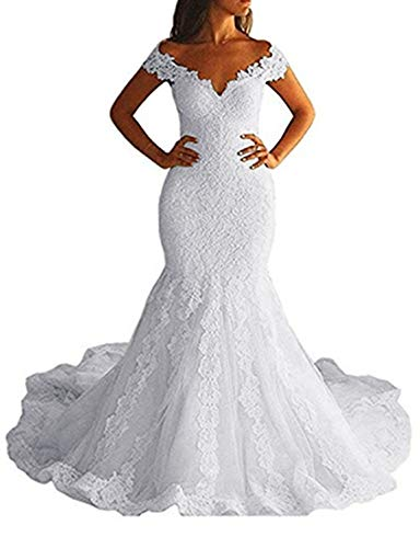 Fanao Off Shoulder Mermaid Wedding Dress Long 2019 Lace Bridal Gowns WD03 White 18