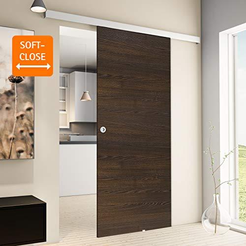 inova Holz-Schiebetür 880 x 2035 mm Wenge Alu Komplettset mit Lauf-Schiene und Griffmuschel inkl. Softclose - 3