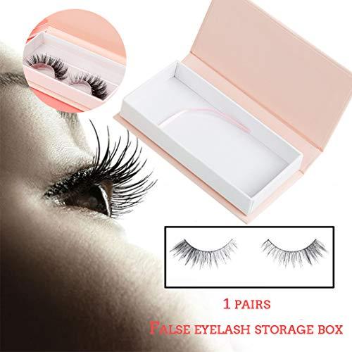 Faux-cils Box, Acrylique Mignonne Bow False Eyelash Miroir cosmétique de maquillage de boîte de rangement Organisateur de cas