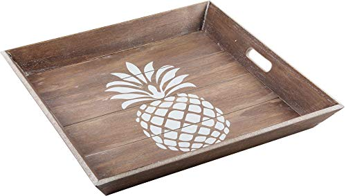 Home Essentials White Pineapple 18 Inches x 18 Inches x 2 Inches Wood Trays Home Decor