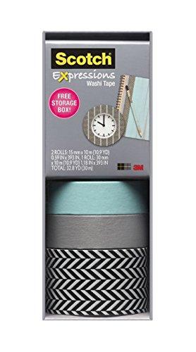 Scotch Expressions Washi Tape, Multi-Pack with Storage Box, Blue/Silver, 3 Rolls (C317-3PK-ZIG)