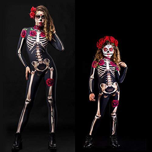 ArcherWlh Holloween,Leggings Push Up Mujer,Halloween Europeo y Americano Horror Skull Rose Skeleton Jumpsuit Cosplay Disfraz Nio Adulto-Negro_Ropa Infantil 140