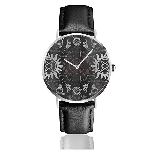 Supernatural Symbols Reloj de Cuarzo clásico Negro Casual Acero Inoxidable Correa de Cuero Relojes