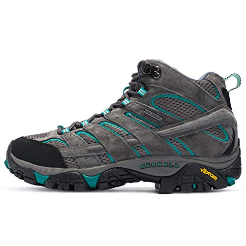 Merrell Women's Moab 2 Mid Waterproof Hiking Granite/Aqua Shoe 6 M US