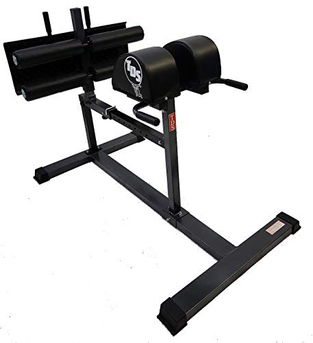 TDS Adjustable Glute and Ham Developer Machine with Extra Wide Deck Plate & 4 Deluxe Rollers for Hip and Back Extensions and Sit Ups.