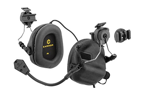 OPSMEN Tactical Earmor M32H Electronic Headphones for FAST Helmets (Black)