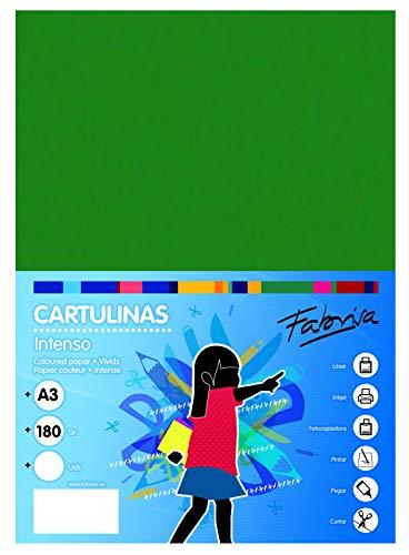 Pack 50 Cartulinas Color Verde Oscuro Tamaño A3 180g