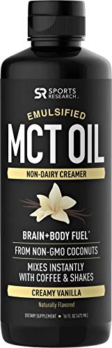 Emulsified MCT Oil (16oz) Made from Non-GMO Coconuts ~ Non-Dairy Creamer for Cold Brew, Keto Coffee, Protein Shakes, Salads & More ~ No Blending Required ! (Creamy Vanilla Flavor)