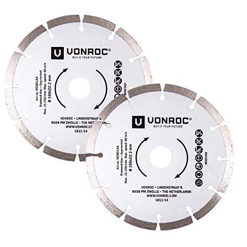 VONROC Diamantsägeblatt Mauernutfräse - universell 150 mm - 2 Stück - Stein und hartes Material