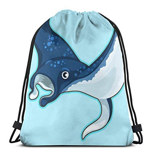 Lsjuee Dibujos Animados de Rayas Azules manchadas sobre Fondo Azul Mochila con cordón Bolsa de Entrenamiento Paquete Cinch para Senderismo Yoga Gimnasio natación Viajes Playa