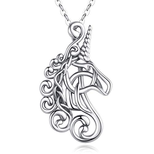 Unicorn Necklace for Little Girls Sterling Silver, AEONSLOVE Vintage Horse Head Celtic Unicorn Pendant Necklace Unicorn Jewelry Gifts for Girls Women Girlfriend Daughter, 18' Chain