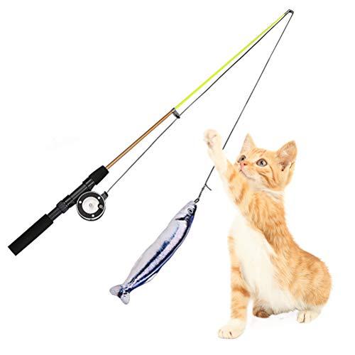 Macabolo Huisdier, kat, veer, teaser, toverstaf speelgoed, intrekbaar vissen pool muur catcher catcher plezier kat spelen interactief speelgoed met verschillende stiften vissen, 40cm, wit