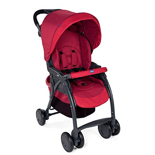 Chicco Simplicity Plus Stroller for newborn babies and toddlers, 0m+, Pram for boys and girls (Scarlet, Red)