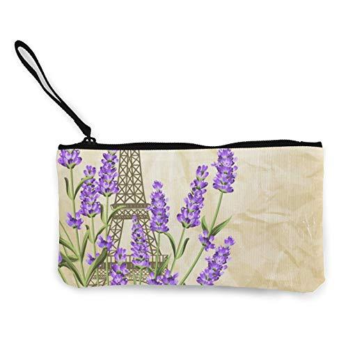 Moneda de lona, tarjeta de recuerdo con monedero de la torre Eiffel con cremallera, bolsa de cosméticos de viaje multifunción para maquillaje, bolsa de teléfono móvil, paquete de lápices con asa
