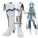 BELUNOT Anime Sword Art Online 2 Calibur Yuuki Asuna Vaporeon Cosplay Shoes White Boots Customized Size 35