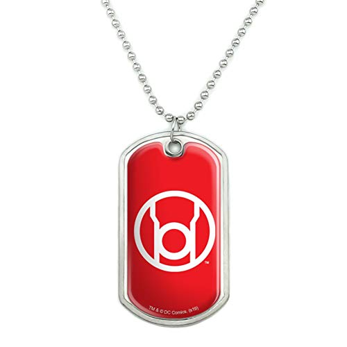 GRAPHICS & MORE Green Lantern Blackest Night Red Lantern Logo Military Dog Tag Pendant Necklace with Chain