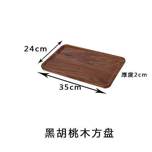 GYZBY Massivholz Teetablett Rechteckige Brotteller Gummi Holzplatte Japanische Kreative Dessert Holzschale 24X35X2Cm