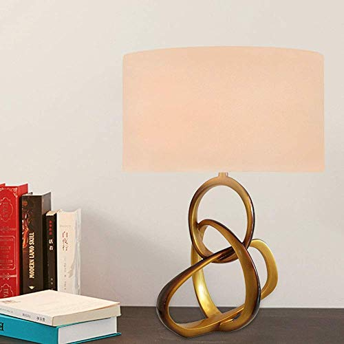 CENPEN Pantalla de tela blanca, material de resina dorada, entrelazado, tres anillas, lámpara de mesita de noche, iluminación de la lámpara, lámpara de salón, lámpara de 56 cm x 36 cm, alto sabor