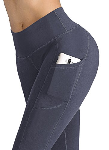 IUGA Yoga Pants with Pockets, Tummy Control, Workout Running Leggings with Pockets for Women, Gray, L