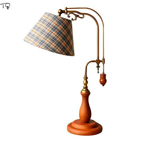 Schreibtischlampe Amerikanische Retro Vintage Britischen Grille Massive Holz Led Tischlampe Verstellbar Dekorative Schreibtisch Lampe Lesen Studie Home Decor Salon