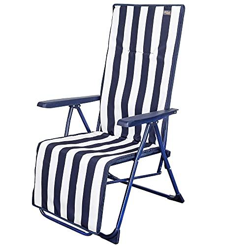 Aktive 62616 - Tumbona plegable de jardín, Tumbona reclinable, 5 posiciones, mide 59 x 59 x 109...