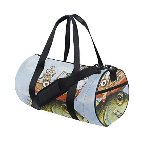 HARXISE Funny Christmas Santa Claus Fishing On Boat Xmas Watercolor Painting,Travel Luggage Bag Sport Lightweight Canvas Fitness Luggage Drum Handbag Detachable