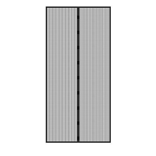 ECD Germany Fliegengitter Tür Insektenschutz Schwarz - 100 x 210 cm - Klebmontage ohne Boren - Magnetvorhang für Balkontür Kellertür Terassentür - Magnet Vorhang Fliegennetz Moskitonetz Fliegenvorhang