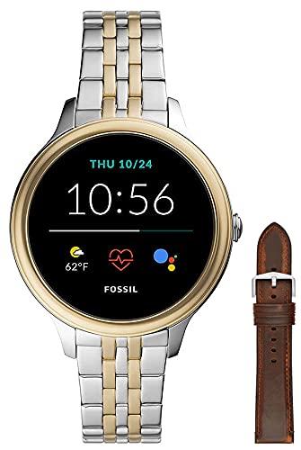 Fossil Connected Smartwatch Gen 5e para Mujer con tecnología Wear OS de Google, frecuencia cardíaca, NFC y notificaciones smartwatch, Acero Inoxidable Bicolor + Correa de Reloj S221299