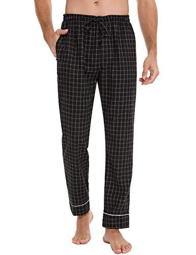 Aiboria Pantalones Pijama Largos para Hombre Dormir Pantalones Hombre 95% Algodón Cuadros Cintura Elástica con Bolsillos S-XXL