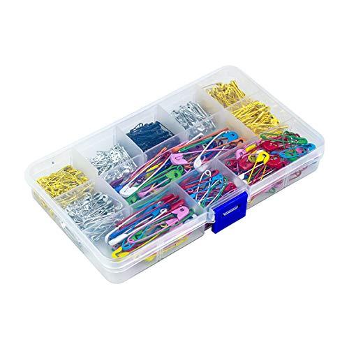 WEONE 500 Pezzi Spille da Balia con Scatola di Plastica, Piccole e Grandi Spille di Sicurezza per Spille Arte Cucire Abbigliamento Casa Ufficio (Multicolore)
