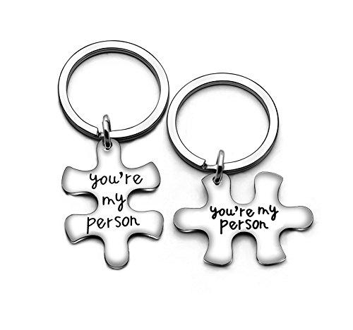 Portachiavi per coppia, fidanzato, fidanzata, familiari, idea regalo per Valentine, Natale, 2 pezzi, You're My Person (Argento)