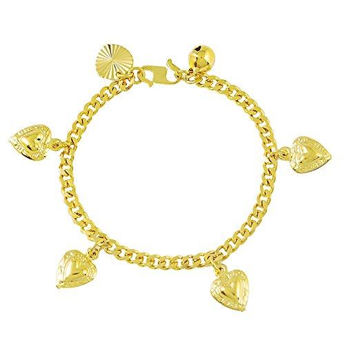 Purmy Bracelet Des Femmes Plaqué Or Bracelet Pour Les Filles Pour Votre Amour Étoile Amour Bracelet Or 17CM