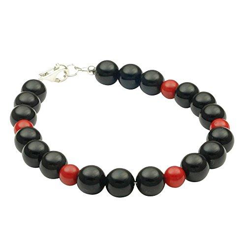 Pulsera de ónix & coral, plata 925, negro rojo, 20cm ARM Cadena joyas