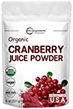 Sustainably US Grown, Organic Cranberry Juice Powder (Cranberry Supplements), 8 Ounce, Enhance Urinary Tract Cleanse, Prostate Health and Immune System, Natural Flavor & Vitamin C for Smoothie, Vegan