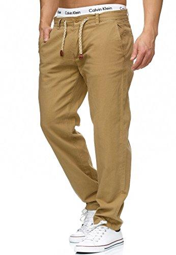 Indicode Herren Veneto Stoffhose aus 55% Leinen & 45% Baumwolle m. 4 Taschen | Lange sportliche Regular Fit Hose Moderne Baumwollhose Leinenhose Bequeme Freizeithose f. Männer Cornstalk M