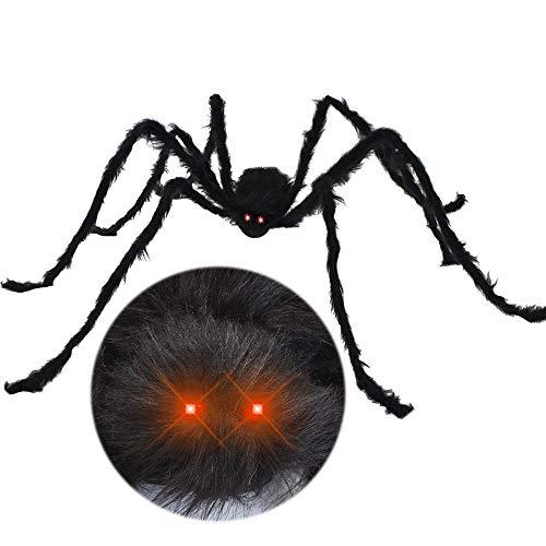 JOYIN 6.5ft LED Eyes Hairy Black Giant Spider for Halloween Indoor Outdoor Decorations