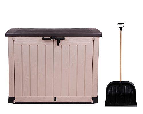 Ondis24 Gartengerätebox Mülltonnenbox Gartenmöbelbox Poolbox Gartenbox ARC, beige, für 2 Stück 240 Liter Mülltonnen geeignet + Schneeschaufel