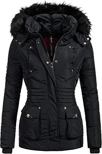 Marikoo Damen Winter Jacke Steppjacke Vanilla Schwarz Gr. L