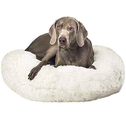 JRUI Extra großes Hundekissen, rundes Donut-beruhigendes Haustierbett mit abnehmbarem Bezug, weiches Hundebett für mittelgroße und extra große Hunde und Katzen