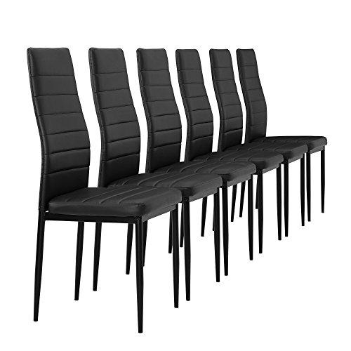 [en.casa] 6 x Esszimmerstuhl (schwarz) mit hochwertigem Kunstlederpolster für Esszimmer/Wohnzimmer/Küche - Set