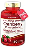 Triple Strength Cranberry 30,000mg + Vitamin C   150 Capsules   Tablets for Urinary Infections   Non-GMO, Gluten Free   by Horbaach