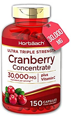 Triple Strength Cranberry 30,000mg + Vitamin C | 150 Capsules | Tablets for Urinary Infections | Non-GMO, Gluten Free | by Horbaach