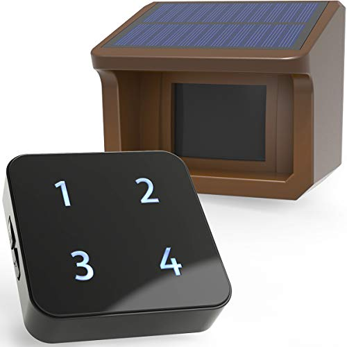 HTZSAFE 800 Meters Solar Driveway Alarm System-Up to 20 Meters Wide Sensor Range 3 Adjustable Sensitivities-Fully Weatherproof Outdoor Motion Sensor&Detector DIY Security Alert System